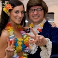 Hawaiian themed event with promo model and Austin Powers