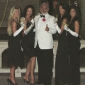 James Bond double and Bond girls at the black tie gala